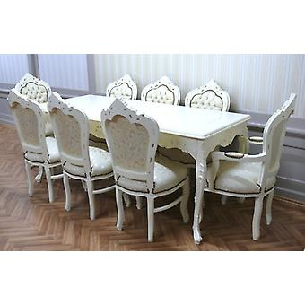 baroque dining room table armchair carved creme white beige antique style  AlEs0690WeSon