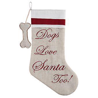 Hunde elsker Santa også broderet linned Look 20 tommer Christmas Holiday strømpe