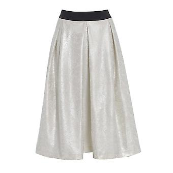 Long Flared Ivory skater Skirt SK200-16