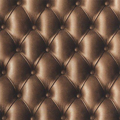 Cushioned Leather Effect Chocolate Padding Chesterfield Sofa Wallpaper 3D Image