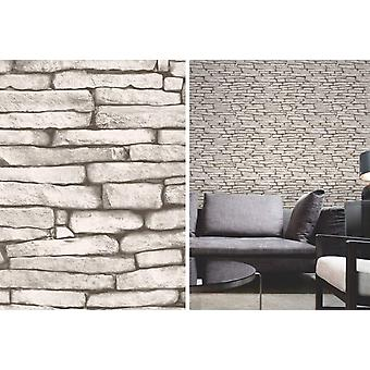 Fine Decor White and Silver Slate Stone Effect Feature Wallpaper