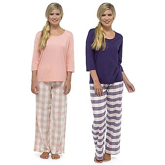 Ladies Tom Franks Yarn Dyed Check Trouser Long Pyjama Pajama Sleepwear Set