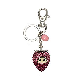 W.A.T Sparkling Pink Crystal Strawberry Key Ring