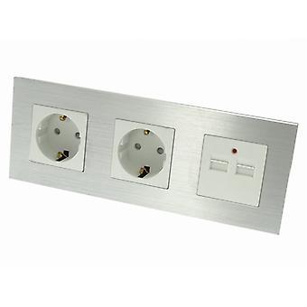 I LumoS Luxury Silver Brushed Aluminium Frame Double German EU 16A Schuko + 2.1A USB Triple Socket