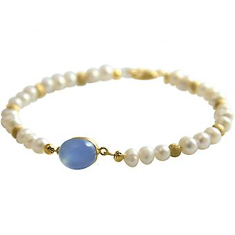 Women - bracelet - pearls gold plated - chalcedony - blue - 18 cm