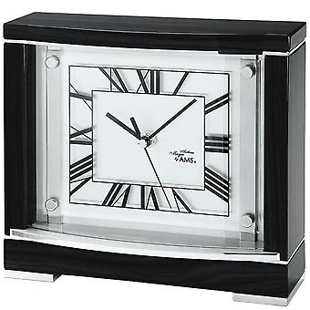 AMS table clock square quartz watch black, pianofinish lacquered case, mineral glass