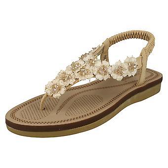 Damer Savannah blomst detaljerede tå Post sandaler F0988