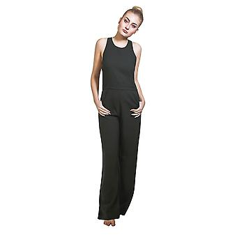 Ladies High Waisted Jumpsuit - Dark Green Wide leg trouser Palazzo style All in