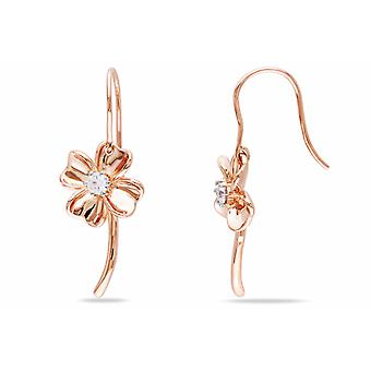 Affici Sterling verguld zilveren Daisy Drop Earrings 18ct Rose met diamant CZ Gems