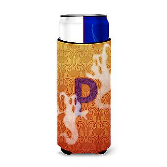 Halloween Ghosts Monogram Initial  Letter P Ultra Beverage Insulators for slim c