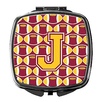 Letter J Football Maroon and Gold Compact Mirror