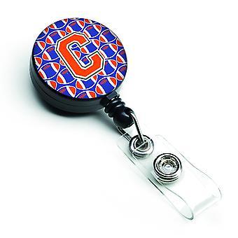 Lettera C calcio verde, blu e arancione retrattile Badge Reel