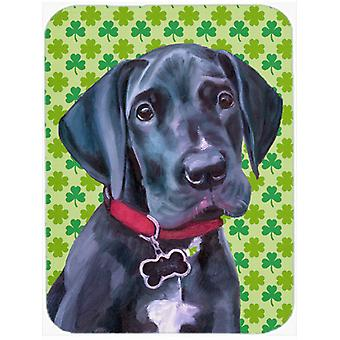 Black Great Dane Puppy St. Patrick's Day Shamrock Mouse Pad, Hot Pad or Trivet