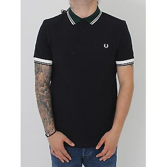 Fred Perry Ribbed Trim Pique Polo - Navy