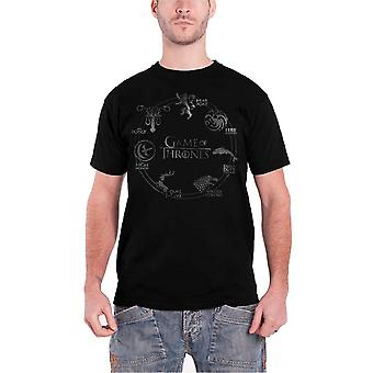 Game Of Thrones Silver House Sigil T Shirt Wolf HBO TV Show Mens T Shirt Black