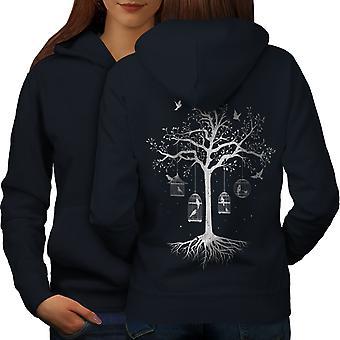 Fantastische Käfig Baum Frauen NavyHoodie Rücken | Wellcoda