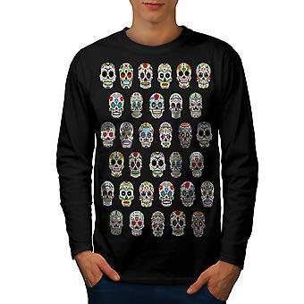 Skallen Acid menn BlackLong ermet t-skjorte | Wellcoda