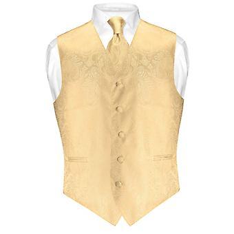 Men's Paisley Design Dress Vest & NeckTie Neck Tie Set for Suit Tux