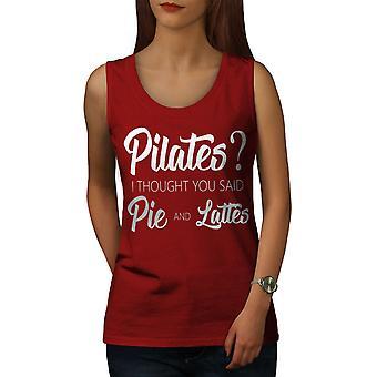 Pilates Pie Latte Women RedTank Top | Wellcoda