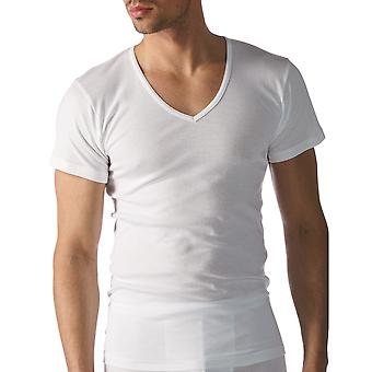 Mey 49107-101 Men's Casual Cotton White Solid Colour Short Sleeve Top