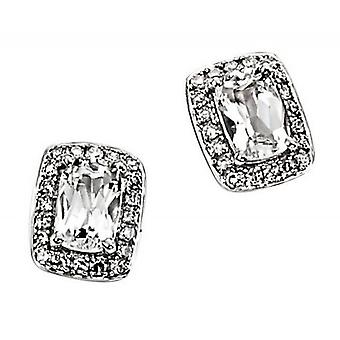 Elements Gold Topaz and Diamond Earrings - Clear/White Gold