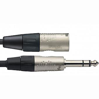 Stagg serie N Audio Cable 3m - Stereo Jack / XLR macho