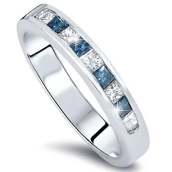 1/2ct Princess Cut Blue Diamond Wedding Ring