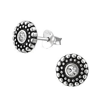 Runde - krystal + 925 Sterling sølv Crystal øret knopper - W31406X
