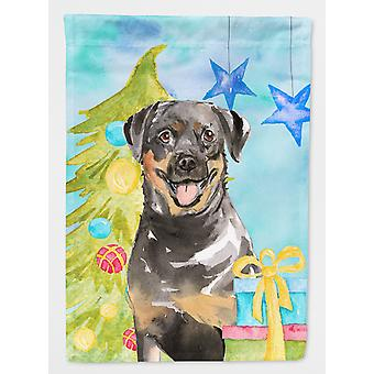 Carolines Treasures  CK1868CHF Christmas Tree Rottweiler Flag Canvas House Size