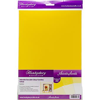 Hunkydory Adorable Scorable A4 Cardstock 24/Pkg-Yellow Tones AS176