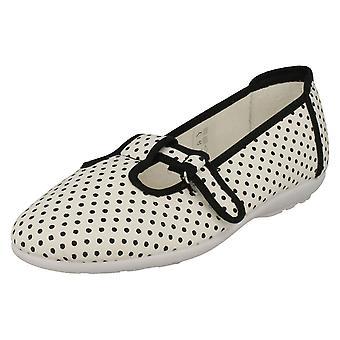 Ladies Easy B T-Bar Canvas Shoes Dots - White Polka Dot Canvas - UK Size 4 2V - EU Size 36.5 - US Size 6