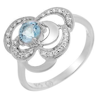 Orphelia plata 925 anillo flor topacio ZR-7099