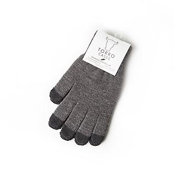 100% Wool Touchscreen Gloves In Charcoal Grey
