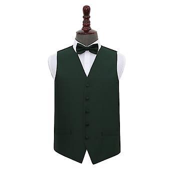Mörk grön Solid kontrollera bröllop väst & fluga Set