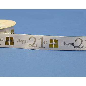25mm White Happy 21st Birthday Printed Ribbon - 20m   Ribbons & Bows for Crafts