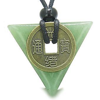 Amulet trekant beskyttelse krefter antikke heldig Coin sjarm Aventurine pilspiss anheng halskjede