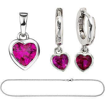 Barna jenter rosa 925 sølv cubic zirconia smykker sett hjerte rosa kjede 42 cm