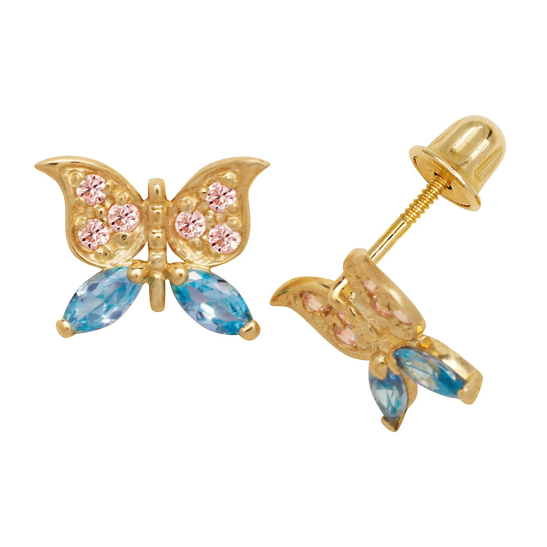 14k jaune or bleu Cubic Zirconia Butterfly Screw-Back Earrings - Measures 7x10mm