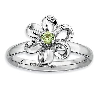 Argento del forcone impilabile espressioni lucido Peridot fiore anello rodiato - formato dell'anello: 5-10