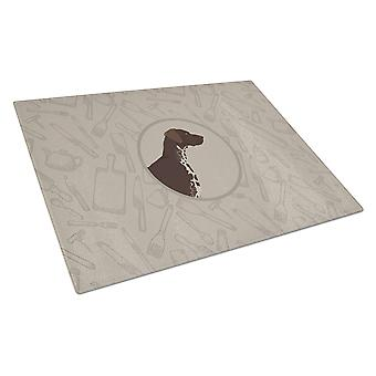 German Shorthaired Pointer In the Kitchen Glass Cutting Board Large