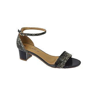 JLH844 Jaynie Ladies Patent Snake Print Buckle Ankle Strap Medium Heeled Sandals
