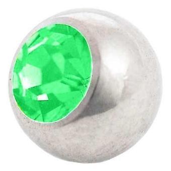 Piercing boule de rechange, bijoux de corps, Pierre vert | 1, 6 x 4, 5 et 6 mm