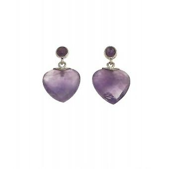 Cavendish French Sterling Silver and Faceted Amethyst Heart Earrings