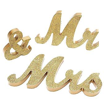 TRIXES Mr and Mrs Gold Table Decorations