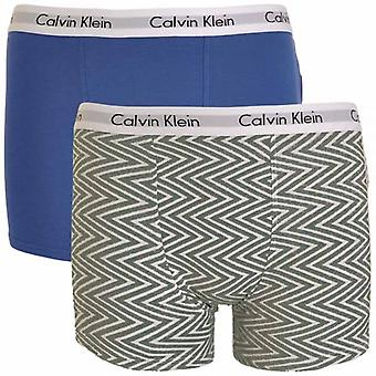 Calvin Klein jungen 2 Pack moderne Cotton Boxer Trunk, Medium Grau Chevron Print / Kobalt Blau, Medium Wasser