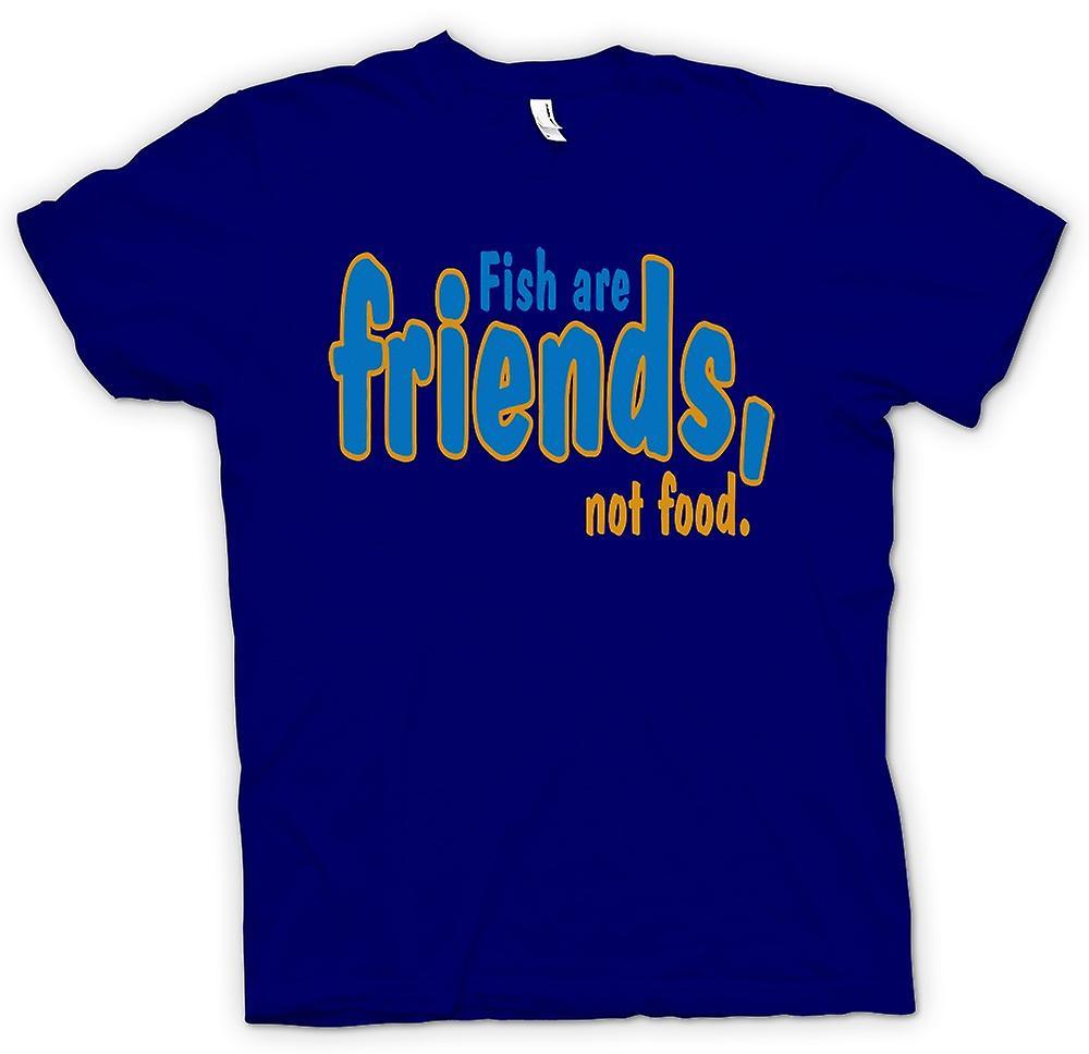 Heren T-shirt - vis zijn vrienden, geen voedsel - grappig citaat