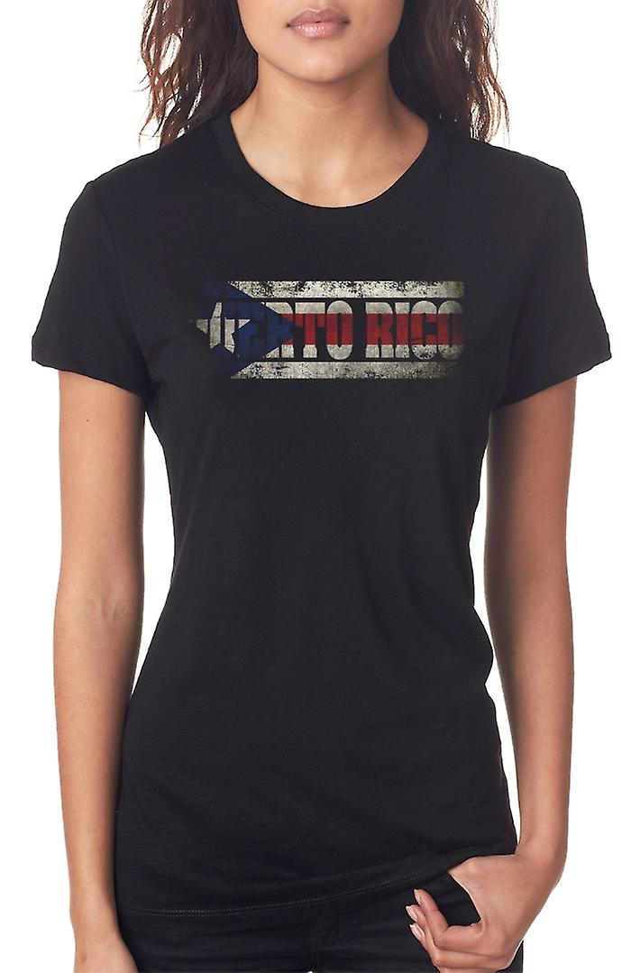 Puerto Rico Flag - Words Ladies T Shirt