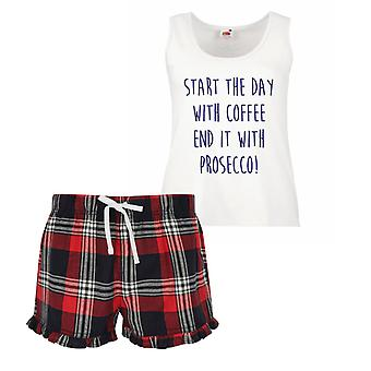 Start The Day With Coffee End It With Prosecco Ladies Tartan Frill Short Pyjama Set Red Blue or Green Blue