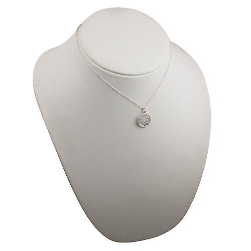 Silver 11mm pierced Leo Zodiac Pendant with rolo chain