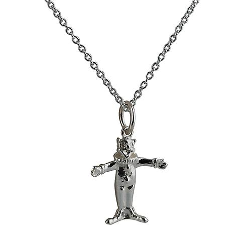 Silver 15x14mm solid Clown with Rolo chain